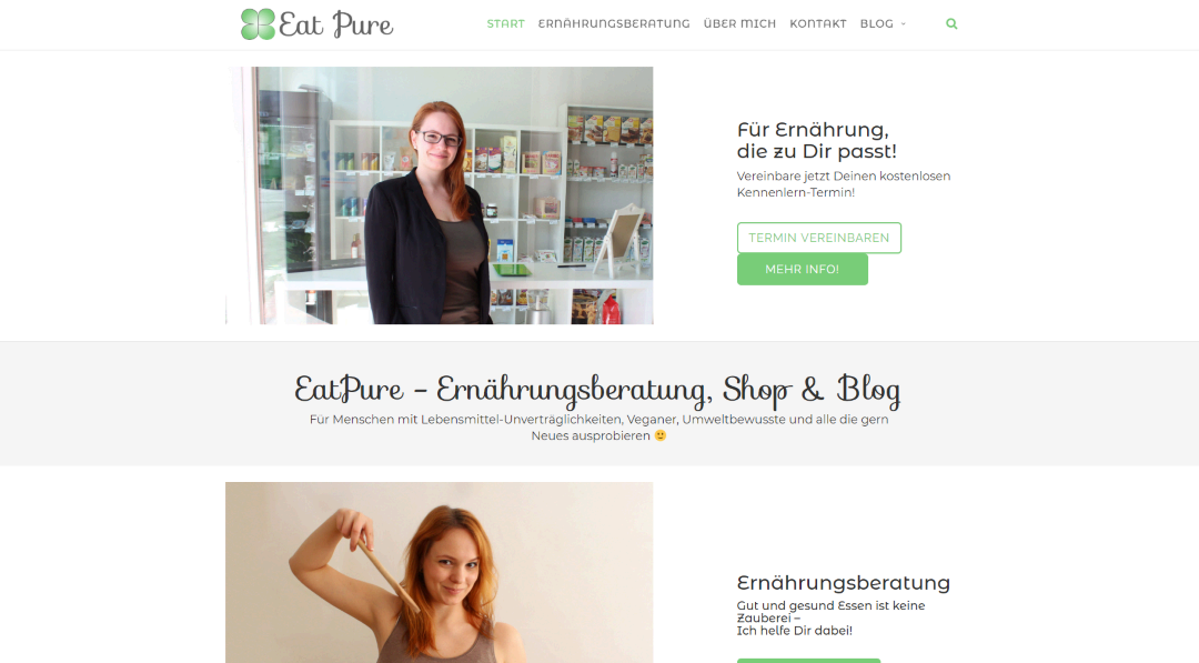 Eatpure - Landingpage und Blog